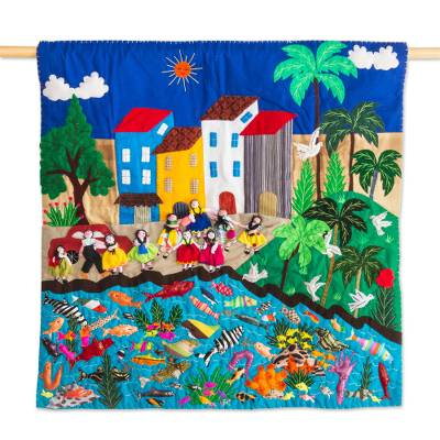 Cotton wall hanging, 'Arpilleria Aquarium' - Hand Made Cotton Patchwork Seaside Village Wall Hanging