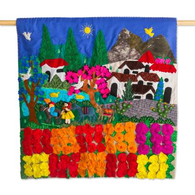Cotton wall hanging, 'Rose Ranch' - Hand Made Cotton Patchwork Wall Hanging Floral Village