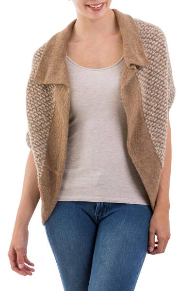 Alpaca blend cardigan sweater, 'Desert Warmth' - 100% Alpaca Women's Collared Cardigan Sweater from Peru