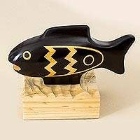 Wood sculpture, 'Moche Fish' - Moche Fish Artisan Crafted Wood Sculpture from Peru