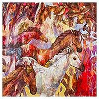 'Warm Harmony' - Expressionist Painting of Horses from Peru