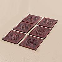 Leather coasters, 'Floral Refreshment in Red' (set of 6)