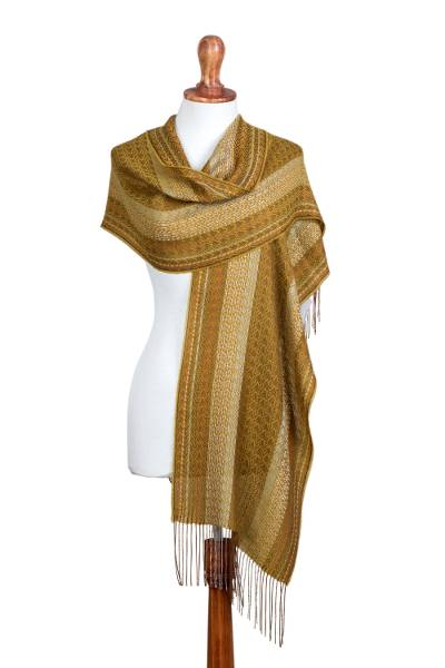 Baby alpaca and silk blend shawl, 'Andean Gold' - Gold Color Hand Woven Alpaca and Silk Blend Shawl from Peru