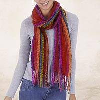 Baby alpaca blend scarf, 'Bohemian Rainbow' - Hand Woven Alpaca Blend Striped Multicolored Scarf from Peru