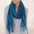 Baby alpaca blend scarf, 'Bohemian Caribbean Blue' - Baby Alpaca Blend Hand Woven Striped Blue Scarf from Peru thumbail
