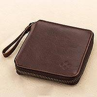 Leather wallet, 'Strong' - Brown Leather Wallet with Zipper from Peru