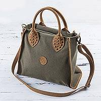 Leather accent cotton shoulder bag, 'Brown Clay'