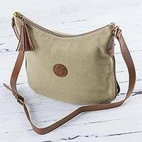 Leather accent cotton shoulder bag, 'Parchment Satisfaction'