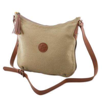 Leather accent cotton shoulder bag, 'Parchment Satisfaction' - Leather Accent Cotton Shoulder Bag in Parchment from Peru