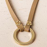 Leather eyeglasses holder, 'Studious Elegance in Tan' - Leather and Brass Eyeglasses Holder in Tan from Peru