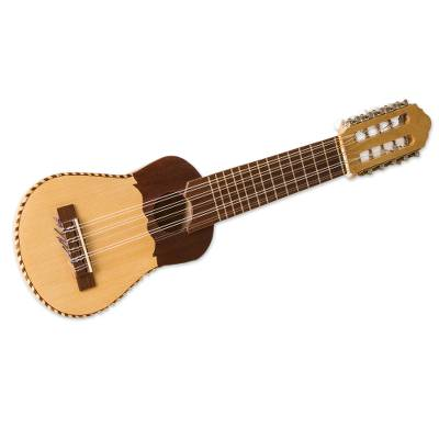 Wood charango guitar, 'Musical Bird' - Peruvian Traditional Charango Guitar with Nazca Bird