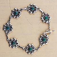 Chrysocolla link bracelet, 'Athena's Flower' - Sterling Silver Chrysocolla Floral Link Bracelet Peru