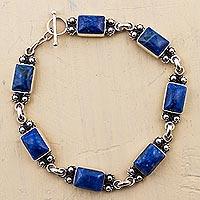 Lapis lazuli link bracelet, 'Seven Seas' - Lapis Lazuli Sterling Silver Link Bracelet from Peru