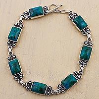 Chrysocolla link bracelet, 'Seven Desires' - Chrysocolla Sterling Silver Link Bracelet from Peru