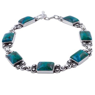 Chrysocolla Sterling Silver Link Bracelet from Peru