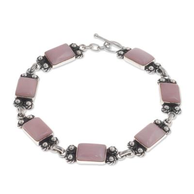 Opal link bracelet, 'Seven Roses' - Pink Opal and Sterling Silver Link Bracelet from Peru