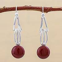 Jasper dangle earrings, 'Smooth Splendor' - Jasper and Sterling Silver Dangle Earrings from Peru