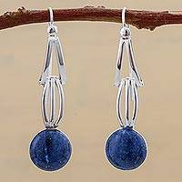 Lapis lazuli dangle earrings, 'Nebula Skies' - Lapis Lazuli and Sterling Silver Dangle Earrings from Peru