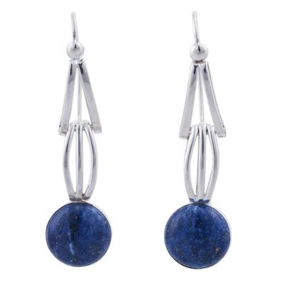 Lapis lazuli dangle earrings, 'Nebula Skies' - Lapis Lazuli and Sterling Silver Dangle Earrings from Peru