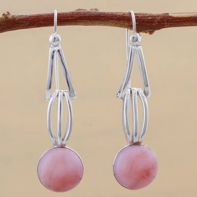 Opal dangle earrings, 'Pink Succulence' - Pink Opal and Sterling Silver Dangle Earrings from Peru