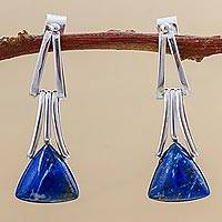 Lapis lazuli dangle earrings, 'Distant Mountains' - Lapis Lazuli Sterling Silver Triangle Dangle Earrings Peru
