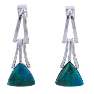 Chrysocolla dangle earrings, 'Distant Mountains' - Chrysocolla Sterling Silver Triangle Dangle Earrings Peru