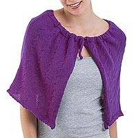 100% baby alpaca capelet, 'Poised in Plum' - Purple 100% Baby Alpaca Wool Capelet from Peru