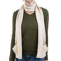 100% baby alpaca scarf, 'Merry Ivory' - Ivory 100% Baby Alpaca Wool Scarf with Pockets from Peru