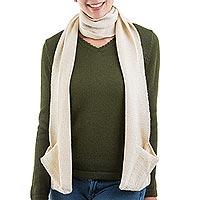 100% baby alpaca scarf,
