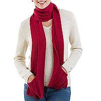 100% baby alpaca scarf, 'Merry Cherry' - Red 100% Baby Alpaca Wool Scarf with Pockets from Peru