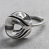 Sterling silver cocktail ring, 'Natural Modernity' - Modern Design Sterling Silver Cocktail Ring from Peru