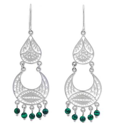 Malachite filigree dangle earrings, 'Crescent Drop' - Sterling Silver Filigree Malachite Dangle Earrings Indonesia