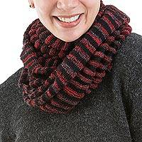 Alpaca blend infinity scarf, 'Georgette' - Red and Black Alpaca Blend Infinity Scarf from Peru