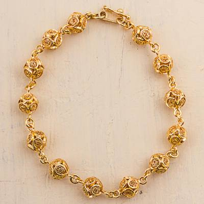 Gold plated sterling silver filigree link bracelet, 'Little Worlds' - Gold Plated Sterling Silver Filigree Link Bracelet Peru