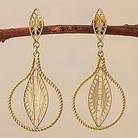 Gold plated filigree dangle earrings, 'Leafy Pears' - Gold Plated Sterling Silver Filigree Dangle Earrings Peru