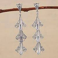 Sterling silver filigree dangle earrings, 'Swirling Trio' - 925 Sterling Silver Filigree Dangle Earrings from Peru