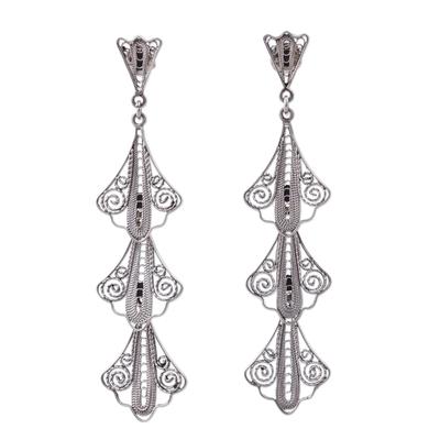Sterling silver filigree dangle earrings, 'Swirling Trio' - 925 Sterling Silver Filigree Dangle Earrings from Peru
