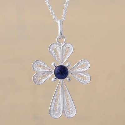 Sodalite filigree pendant necklace, 'Petaled Cross' - Sterling Silver Filigree Sodalite Pendant Necklace from Peru