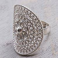 Sterling silver filigree cocktail ring, 'Andean Sombrero'