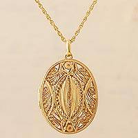 Gold plated filigree locket necklace, 'Valuable Secrets' - Gold Plated Sterling Silver Locket Pendant Necklace Peru