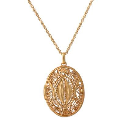 Gold Plated Sterling Silver Locket Pendant Necklace Peru