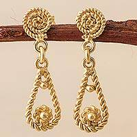 Gold plated dangle earrings, 'Rope Droplets'