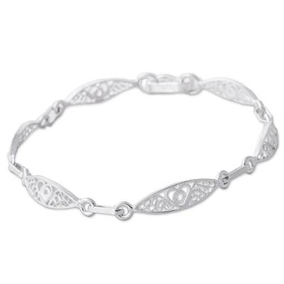 Sterling silver filigree link bracelet, 'Sweet Hearts' - Sterling Silver Filigree Heart Motif Link Bracelet from Peru