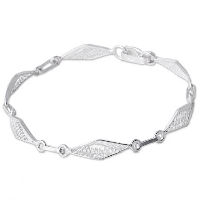 Sterling silver filigree link bracelet, 'Sparkling Rhombi' - Sterling Silver Filigree Rhombus Link Bracelet from Peru