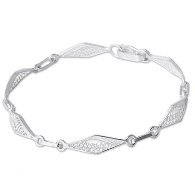Sterling Silver Filigree Rhombus Link Bracelet from Peru