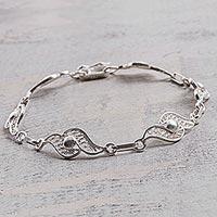Sterling silver filigree link bracelet, 'Wavy Synchronicity' - Hand Made Sterling Silver Filigree Link Bracelet from Peru