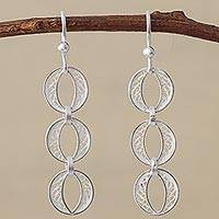Silver filigree dangle earrings, 'Sparkling Ovals' - 950 Silver Filigree Dangle Earrings from Peru