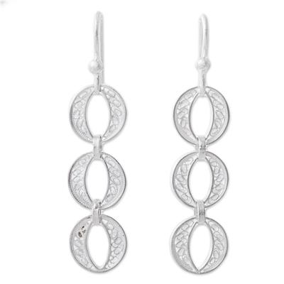 Silver filigree dangle earrings, 'Sparkling Ovals' - 950 Silver Filigree Dangle Earrings from Peru