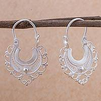 Silver filigree hoop earrings, 'Wings in Flight' - 950 Silver Filigree Hoop Earrings from Peru