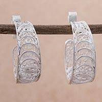 Silver filigree half-hoop earrings, 'Sparkling Crescents'